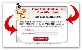 Follow the proven squeeze page templates model and you win!